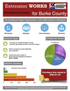 Cover photo for Burke County Cooperative Extension Impacts for 2016