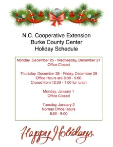 Cover photo for Burke County Center - Holiday Hours