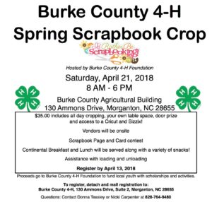Cover photo for Burke County 4-H Spring Scrapbook Crop