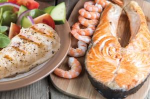 prepared seafood, salmon and chicken