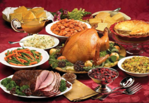 holiday meal with turkey