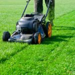 push mowing the lawn