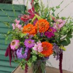 vase of assorted cut flowers