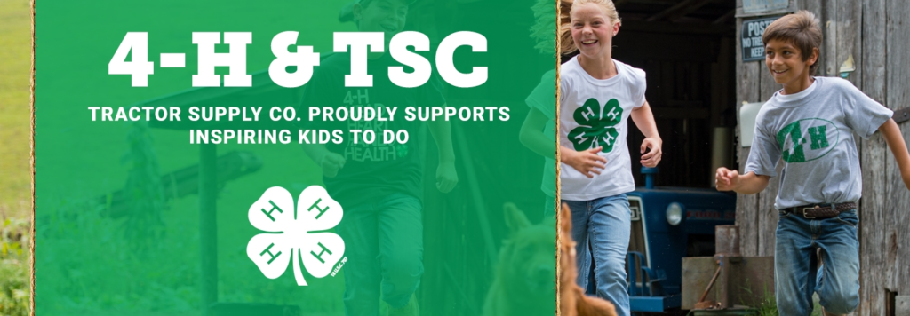4-H and Tractor Supply paper clover campaign logo