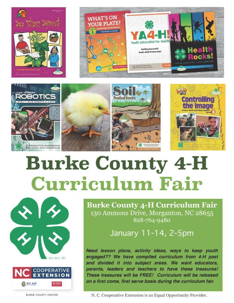 Burke County 4-H Curriculum Fair updated flyer