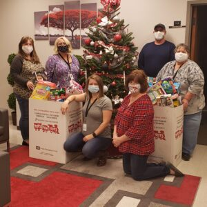Burke County Extension staff with boxes of toys collected